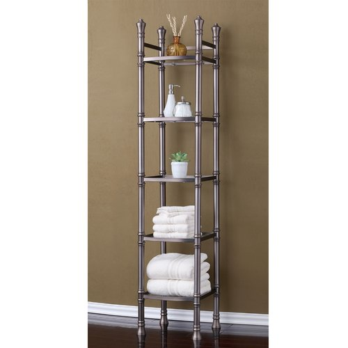 Best Living, Inc. Monaco Tall Etagere 5-Tier Tower, Brushed Titanium