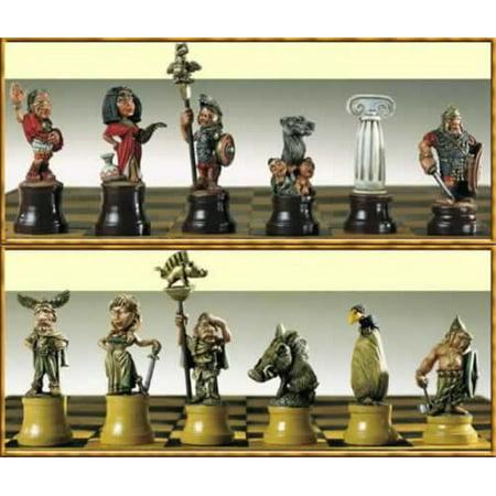 Roman Metal Chess - Pegaso Models 30mm Madchess Romans Vs Gauls Chess Pieces White Metal Kit #30-001