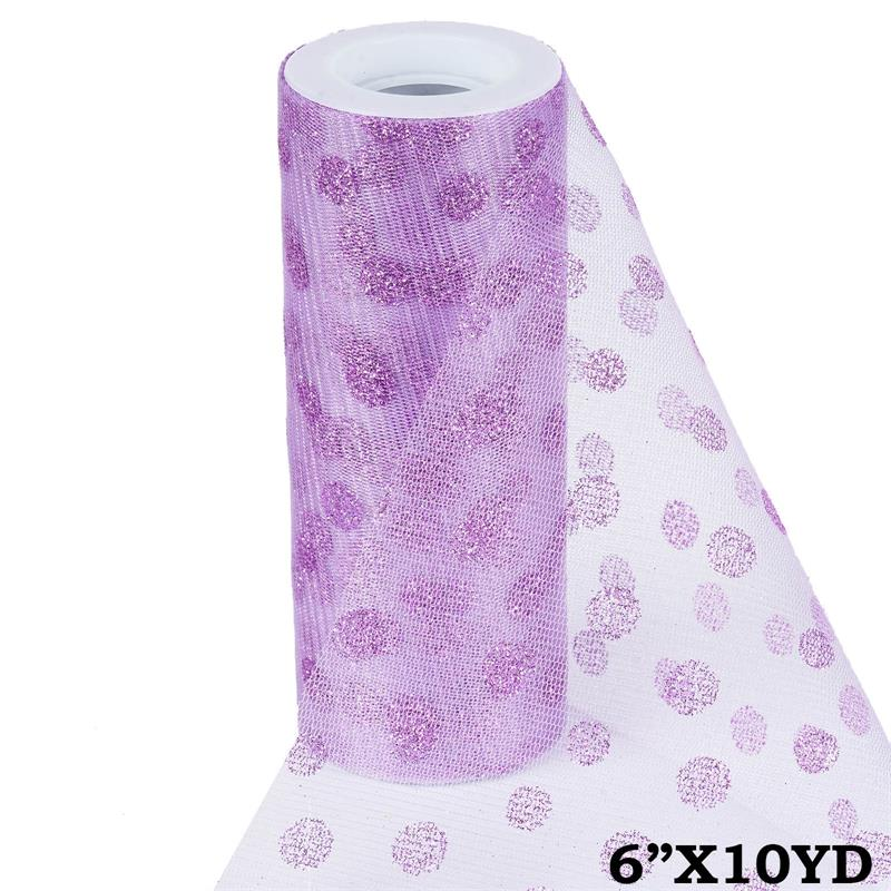 6 inch x 10 yards Glittered Polka Dot Tulle - Lavender