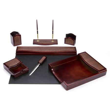 Majestic Goods, Inc Traditional Burgundy Oak and Leather 7-piece Desk Set