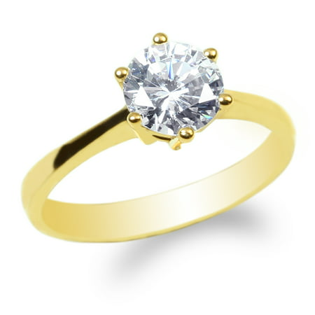 Ladies 10K Yellow Gold 1.1ct Round CZ Solitaire Solid Wedding Ring Size 4-10 10k Solid Gold Ladys Ring