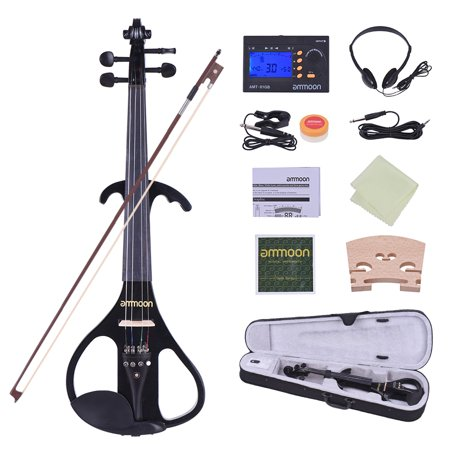 ammoon Full Size 4/4 Solid Wood Electric Silent Violin Fiddle Style-4 Ebony Fingerboard Pegs Chin Rest