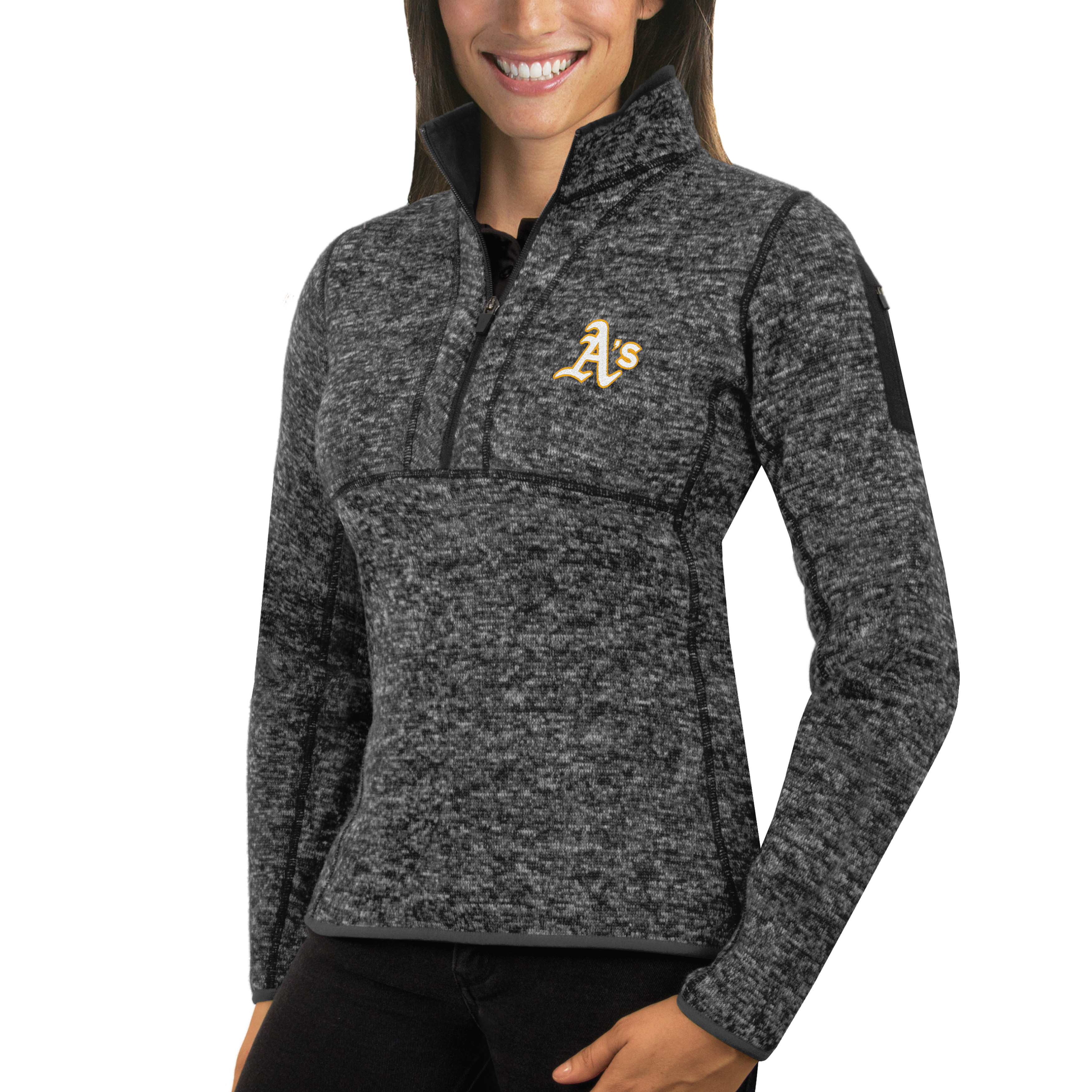 Oakland Athletics Antigua Women's Fortune Half-Zip Pullover Sweater - Heathered Charcoal