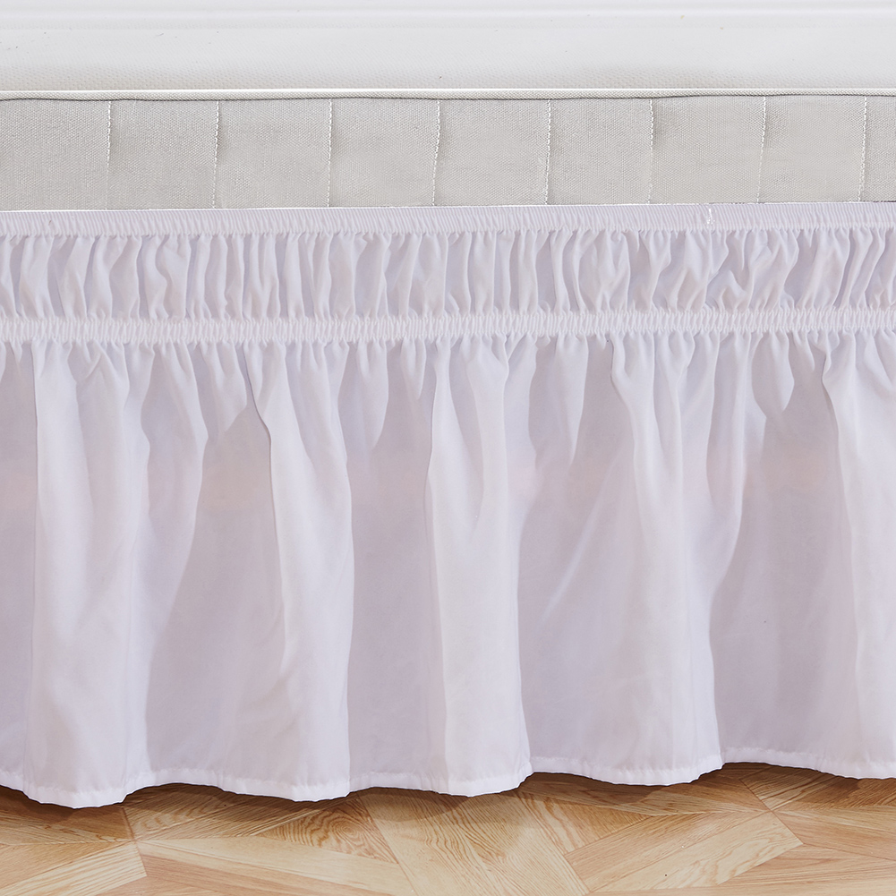 Elastic Bedspread Bed Skirt Ruffle Easy Fit Spread Cover Multi-Size Valance