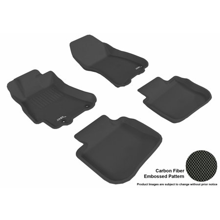 3D MAXpider 2010-2014 Subaru Legacy Front & Second Row Set All Weather Floor Liners in Black with Carbon Fiber Look ()