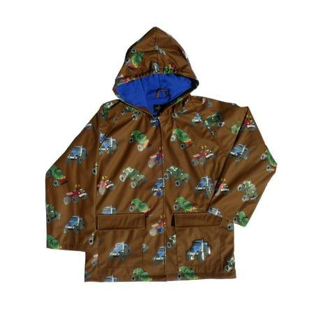Little Boys Brown Monster Truck Rain Coat 2T