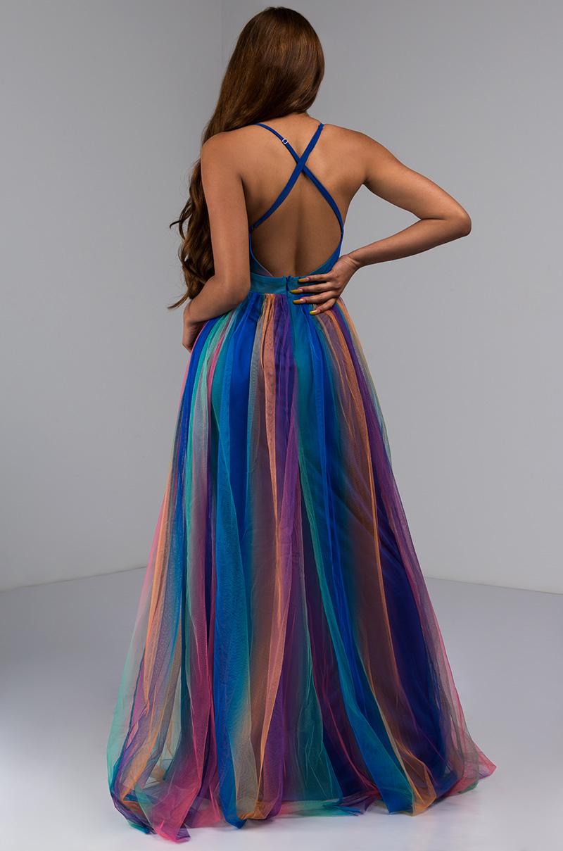 5d2d75707c60 AKIRA - GLADYS RAINBOW PLEATED MAXI DRESS - Walmart.com