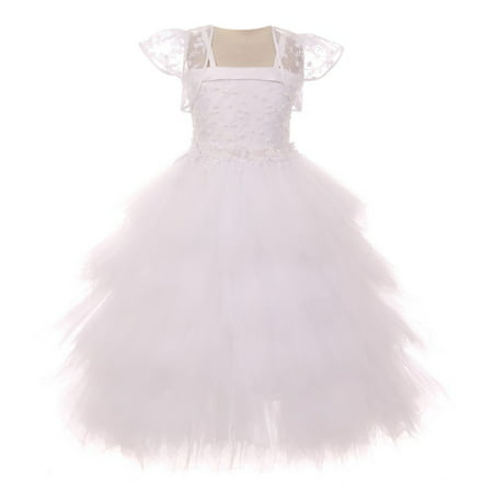 Chic Baby Girls White Embroidery Fluffy Bolero Junior Bridesmaid Dress