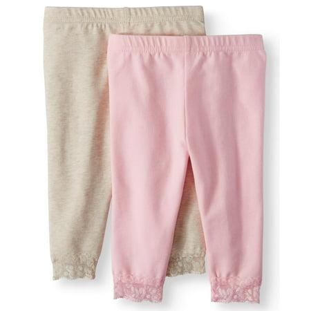 Lace-Trim Leggings, 2-pack (Baby Girls)