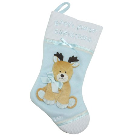 "Blue Christmas Stocking (16"" Blue and White ""Baby's First Christmas 2017"" Christmas Stocking with)"