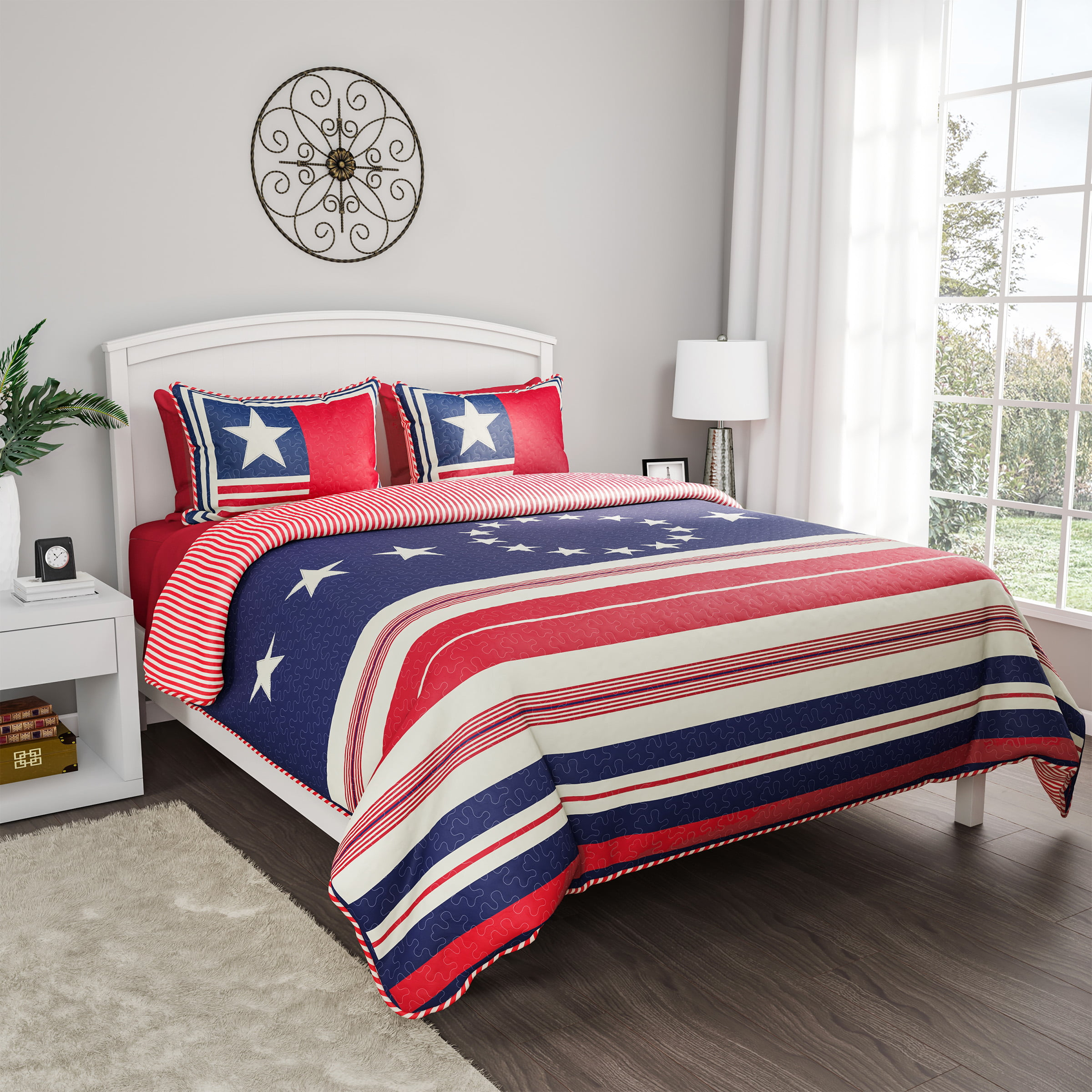 2pc Hypoallergenic Glory Bound Patriotic Americana Flag Print Quilt Bed Set by Somerset Home (TXL) by Trademark Global LLC