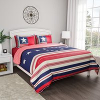 2pc Hypoallergenic Glory Bound Patriotic Americana Flag Print Quilt Bed Set by Somerset Home (TXL)