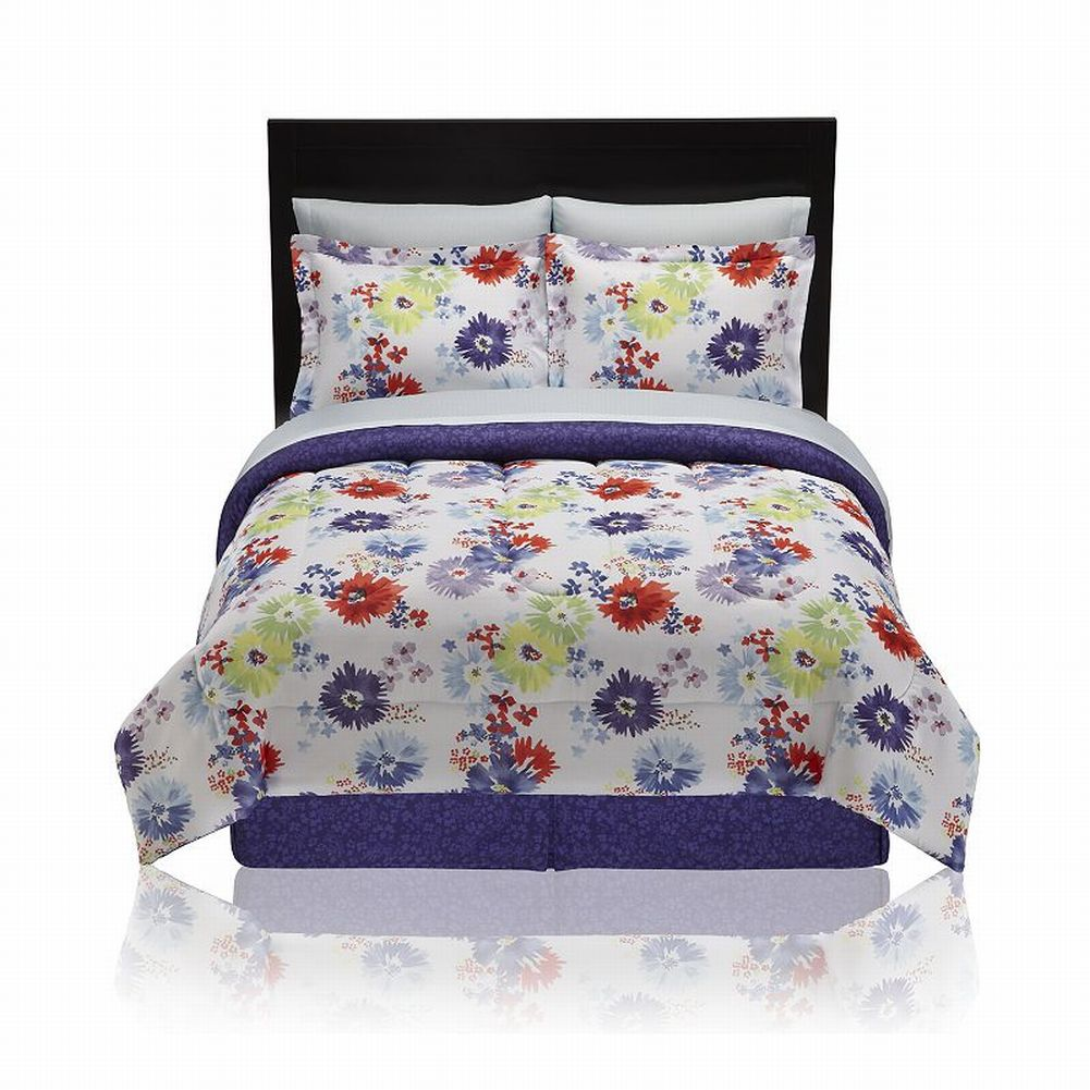 The Big One Dakota Watercolor Floral King 8 Pc Bed in Bag Set Comforter Sheets