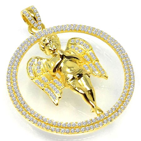 10K Yellow Gold On Real Sterling Silver Praying Angel Simulated Diamond Pendant Charm Medallion 2 Inch