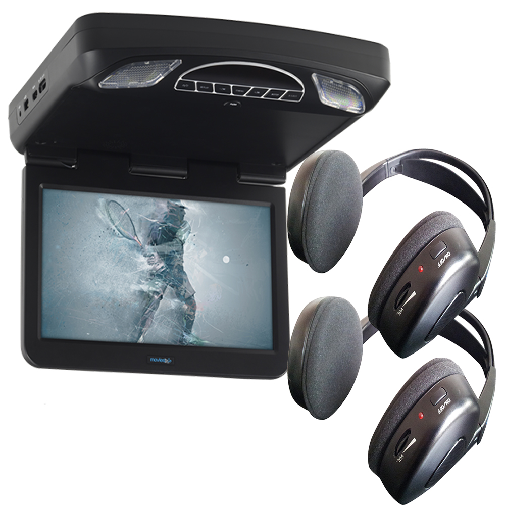 Audiovox Overhead Bundle with MTG13UHD 13.3' Monitor Built-In DVD and Headphones