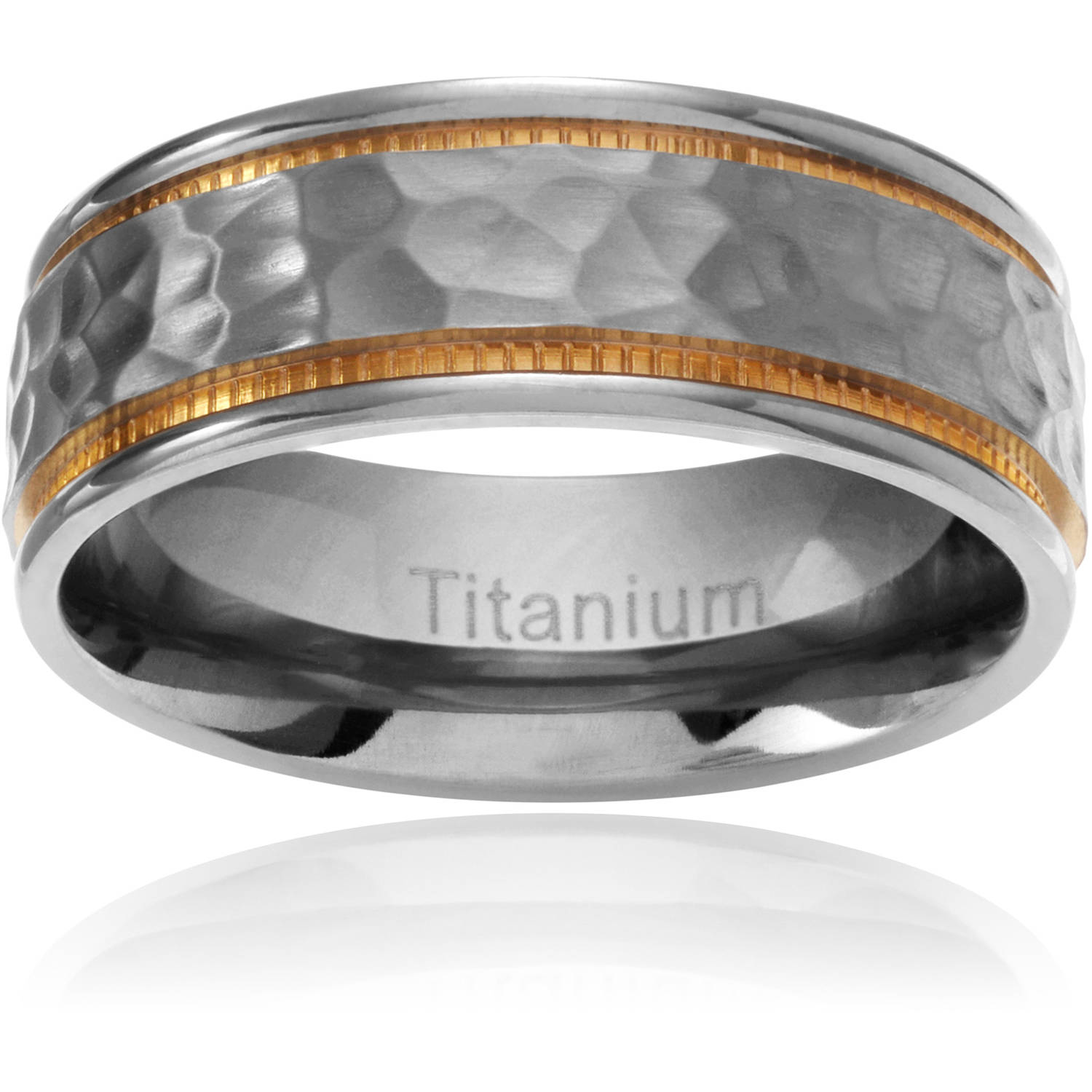 Daxx Men's Titanium Yellow Ion-Plated Hammered Wedding Band, 7mm