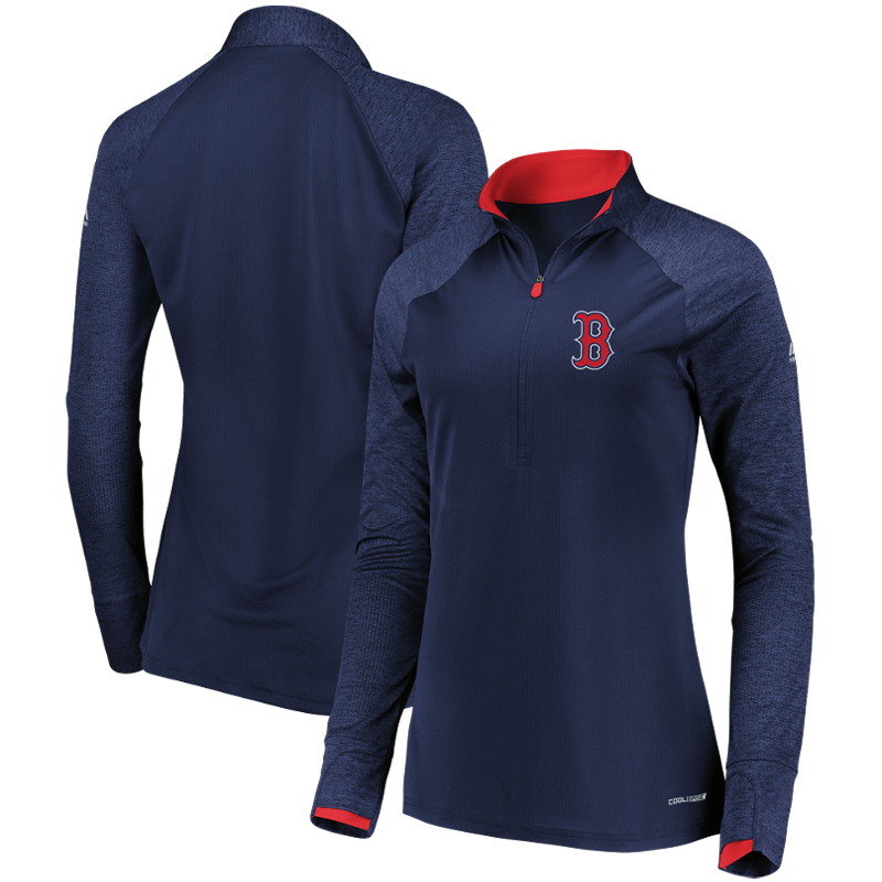 Boston Red Sox Majestic Women's Extremely Clear Cool Base Raglan 1 2-Zip Jacket Navy by MAJESTIC LSG