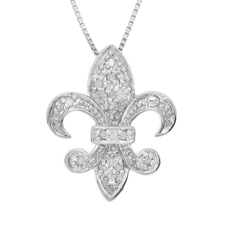 Fleur De Lis Slide Pendant (Sterling Silver 1/10 cttw Natural Round-Cut Diamond (J-K Color, I2-I3 Clarity) Fleur De Lis Pendant)