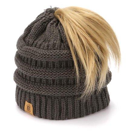 Basico Ponytail Messy Bun Beanie Hat - Walmart.com 7bba90b60e6