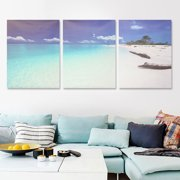 3 Panels Modern Abstract  Canvas Print Sea Beach Art Painting Wall Artwork Picture Home Office Decor Unframed/Framed