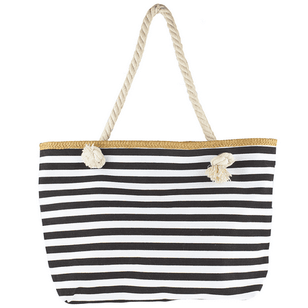 Check Small Tote - Lux Accessories Women's Small Black and White Stripe Tote Beach Bag