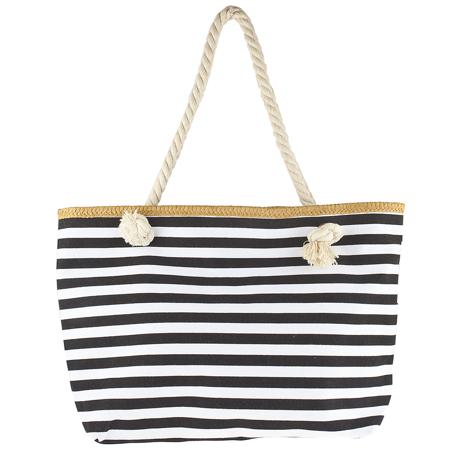 Lux Accessories Women's Small Black and White Stripe Tote Beach - Beach Decorating Accessories