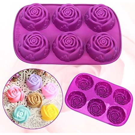 Iclover  2 Packs  6 Cavity Food Grade Silicone Rose Shape Cake Mold Chocolate Soap Mold   Baking Pan   Bakeware Purple