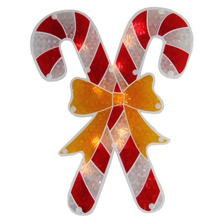 Northlight 12 in. Holographic Lighted Candy Cane Christmas Window Silhouette ()