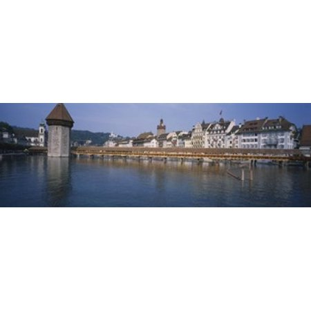 Covered bridge over a river Chapel Bridge Reuss River Lucerne Switzerland Canvas Art - Panoramic Images (36 x 12) ()