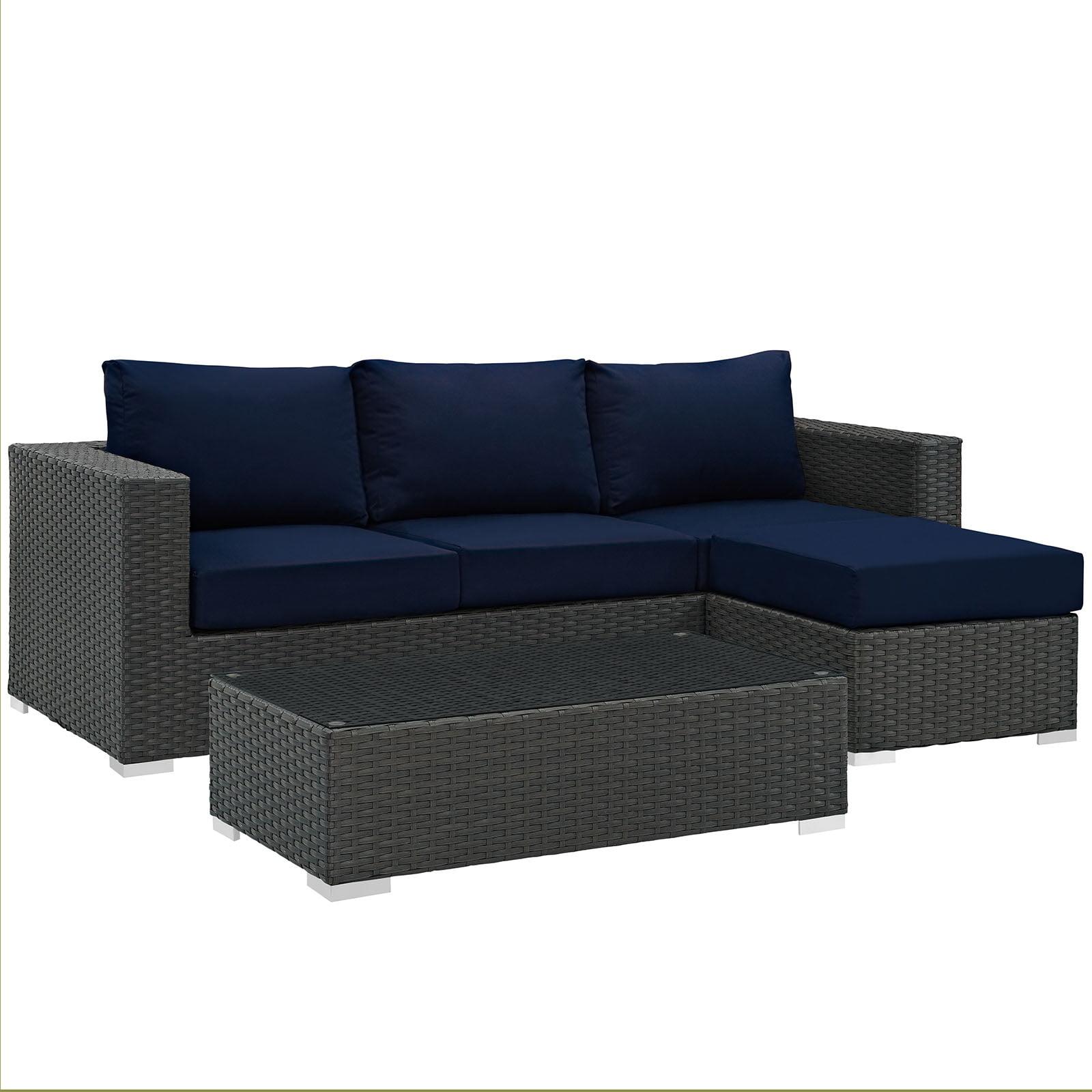Modern Contemporary Urban Design Living Lounge Room Sectional Sofa Set, Navy Blue, Rattan