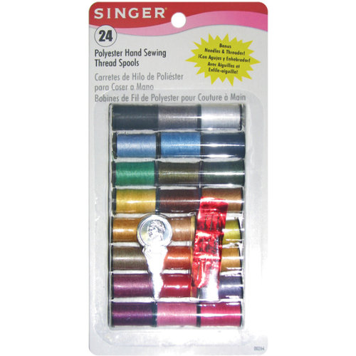 Singer 649134 Polyester Thread 10 Yard Spools 24-Pack -Assorted Co