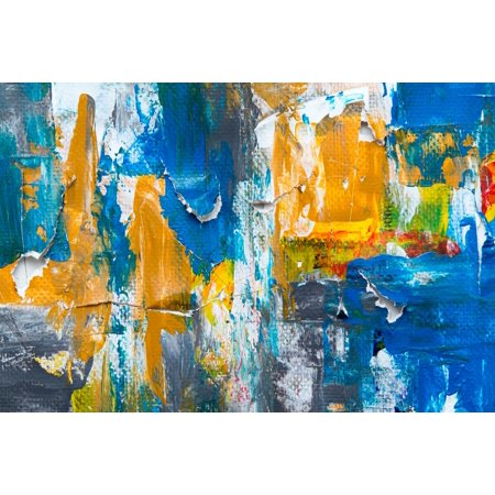 Acrylic Face Mounted Prints White Blue And Yellow Abstract Painting Print 14 X 11 Worry Free Wall Installation Shadow Mount Is Included