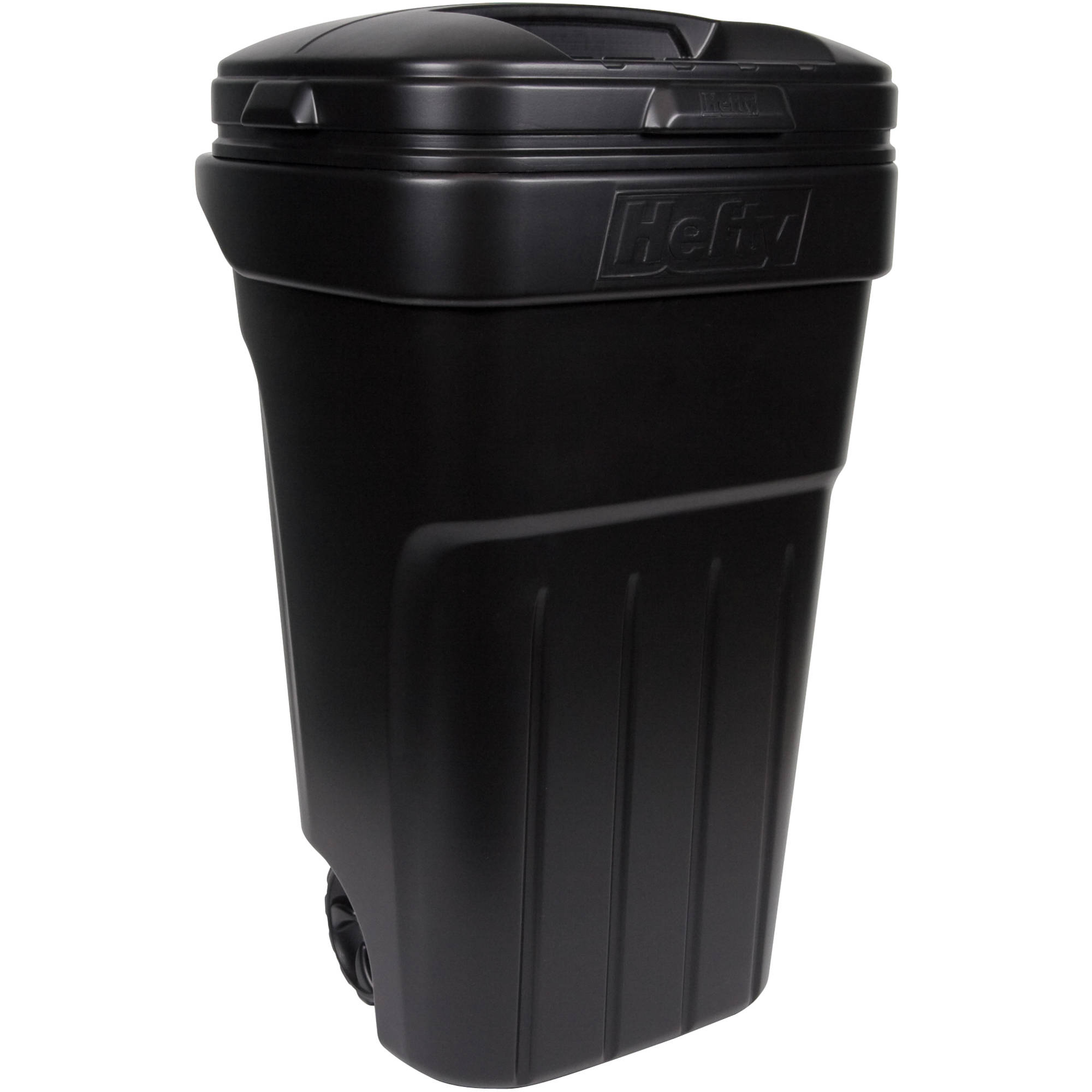 Hefty 32 Gallon Wheeled Outdoor Trash Can Black Walmart Com