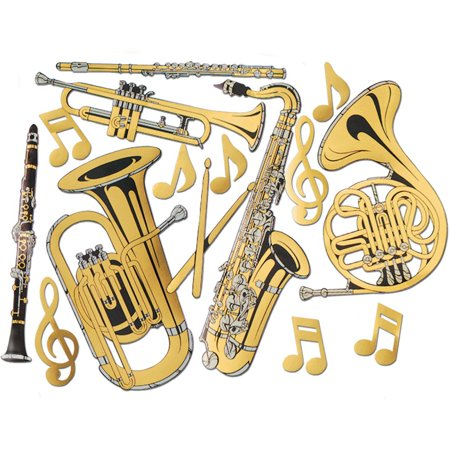 Gold Foil Musical Instrument Cutouts (15/Pkg), This item is a great value! By Beistle