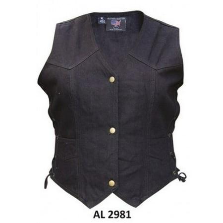 - Ladies Girls Fashion Large Size Bike Riding Style Black Denim Vest 2 Front Pockets With Side Laces