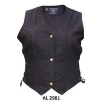 Ladies Girls Fashion Large Size Bike Riding Style Black Denim Vest 2 Front Pockets With Side Laces