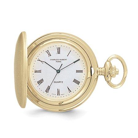 - Lex & Lu Charles Hubert 14k Gold Finish White Dial Pocket Watch XWA615