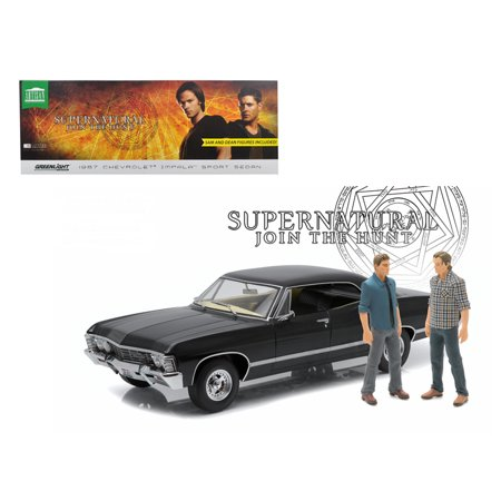 "1967 chevrolet impala sport sedan with sam and dean figures ""supernatural"" tv series 2005 1/18 diecast car by greenlight"