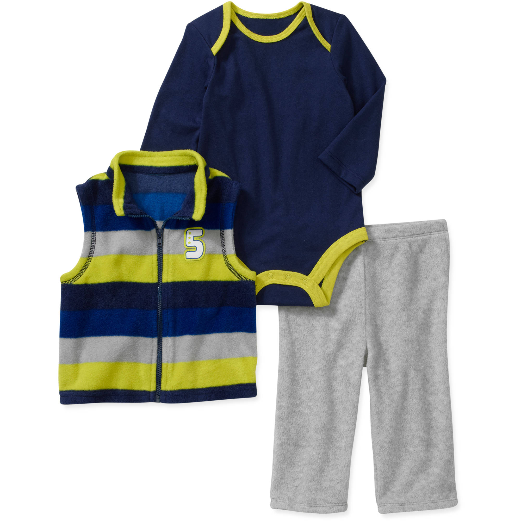 Faded Glory Newborn Boys' 3 Piece Fleece Vest, Creeper and Pant Set