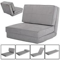 Costway Full Sleeper Convertible Fold-Down Sofa Chair (Gray)