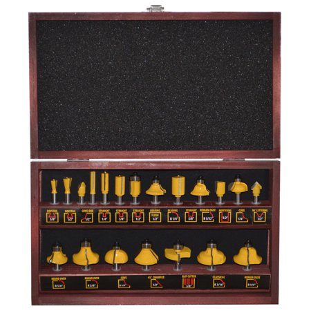 20 Piece Router Bit Set With Wood Box Tools Woodworking Carpentry