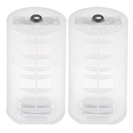 2 pcs AA to Size D Battery Adapters Converter Cases D-Adapter
