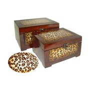 Cheung's FP-2624A-2 Wooden Decorative Boxes with Leopard (Set of 2)