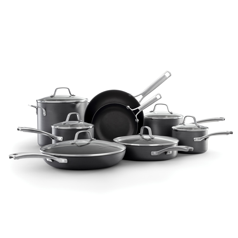 Calphalon Classic Durable Nonstick Measure Pour /& Strain 10 pc Cookware Set Grey