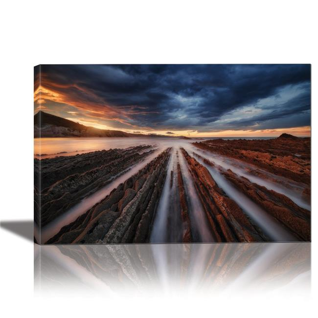 Eurographics Canvas Wall Art: Zumaia Flysch Itzurun Spain Painting Artwork for Home Decor Framed 24x36 inches
