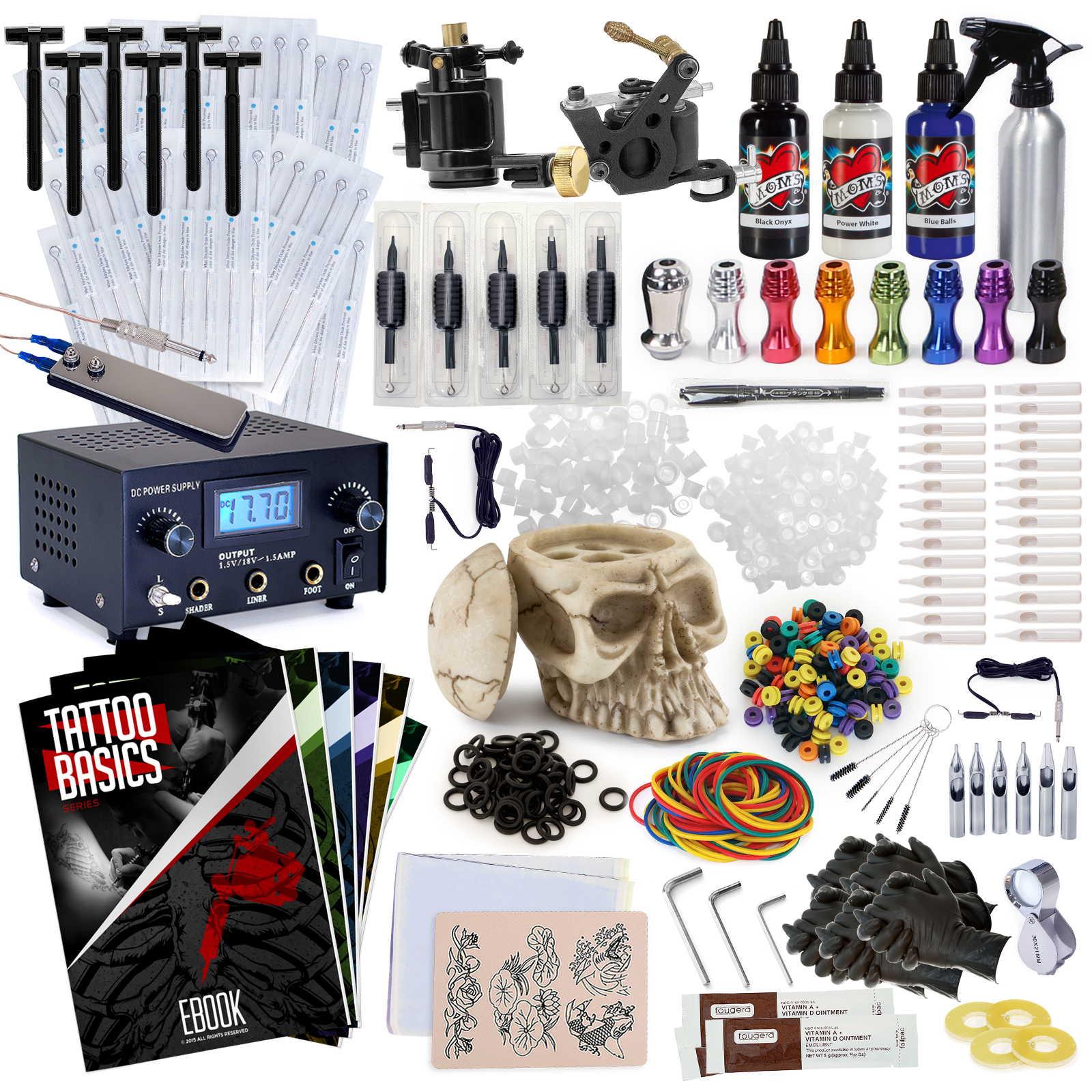 Rehab Ink Professional Tattoo Kit w/ 3 Ink Colors, Skull ...