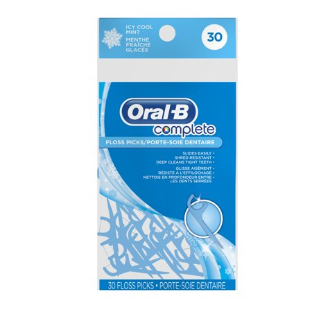 Oral-B Complete Dental Floss Picks, Icy Cool Mint, 30