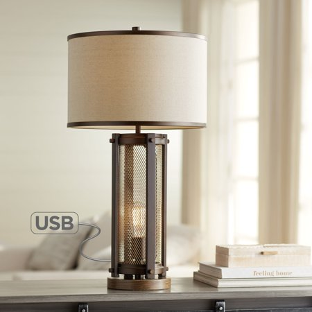 Antique Brass Led - Franklin Iron Works Farmhouse Table Lamp with USB and Nightlight LED Edison Bulb Antique Brass White Shade for Living Room Bedroom