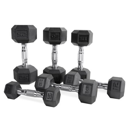 8 Barbells (CAP Barbell Rubber Coated Hex Dumbbell,)