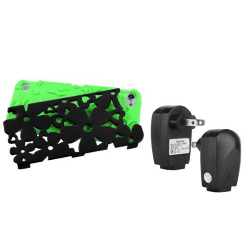 Insten Black/ Green Flowerpower Hybrid Case For iPod Touch 6 6G 5 5G + Travel Charger Adapter